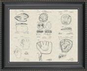 Baseball Mitt Glove Patent Art Collection 20x24 | Manager Coach Player Print Gift