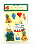 Birthday Self Adhesive Wood Sticker Shapes Painted Wooden Cake Hat Balloons Etc. Pack of 9 Creative Shapes By Lara's Crafts