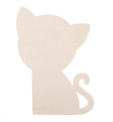 Darice 9189-27 Unfinished Wood Simple Shape Cutout, Cat, 3mm