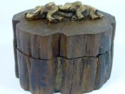 Round Box Teak Wood Brown Colour Elephant Art Thai Handmade Craft Gift Souvenir