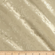 Jacquard Satin Roses Ivory Fabric By The YD
