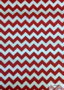 ZIG ZAG POLY COTTON PRINT FABRIC - White/Red - CHEVRON POLYCOTTON 150cm /150cm