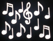 Music Notes White Iron-On Fabric Transfer