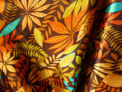 100% Polyester Satin Charmeuse Multi Coloured Leaves on Brown 150cm Wide Fabric By the Yard