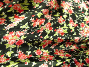 100% Polyester Satin Charmeuse Roses on Black 150cm Wide Fabric By the Yard