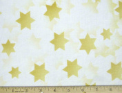 Stars of Light Jewish Fabric - Gold