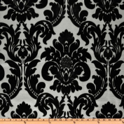 150cm Wide Dior Flocked Damask Silver/Black Home Decor Fabric