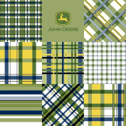 John Deere Plaid Patch Fabric by The Yard, 2.5cm Wide, Blue