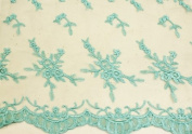 Aqua, Embroidery Lace Fabric on Polyester Mesh with Fancy Flower Design 140cm Wide