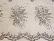 Silver, Lace Fabric Embroidery on Polyester Mesh with Floral Style Design 140cm Wide
