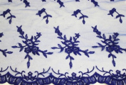 Royal Blue, Embroidery Lace Fabric on Polyester Mesh with Fancy Flower Design 140cm Wide