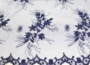 Navy Blue, Lace Fabric Embroidery on Polyester Mesh with Flower Design 140cm Wide
