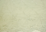 Off White, Embroidery Lace Fabric on Polyester Mesh with Fancy Flower Design 140cm Wide