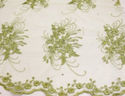Olive Green, Lace Fabric Embroidery on Polyester Mesh with Floral Style Design 140cm Wide