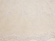 White, Embroidery Lace Fabric on Polyester Mesh with Fancy Flower Design 140cm Wide