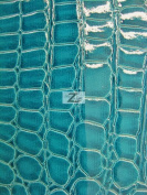 SHINY EMBOSSED FAUX LEATHER/VINYL FABRIC - Turquoise - ALLIGATOR PATTERN SOLD BTY