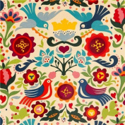 beige doves and flowers laminate fabric by Alexander Henry
