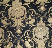 Chenill Damask Fabric, Colour Black/gold, Sold By the Yard 150cm Wide