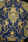 Chenill Damask Fabric, Colour Blue/gold, Sold By the Yard 150cm Wide