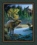 Wild Wings Mountain Sky Elk Wall Panel Fabric by The Yard, 2.5cm Wide, Multi-Coloured