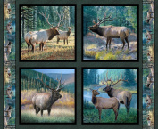 Wild Wings Mountain Sky Elk Pillow Panel Fabric by The Yard, 2.5cm Wide, Multi-Coloured
