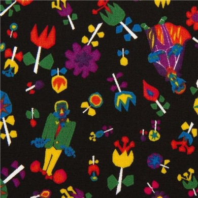 black monsters and flower fabric by Kokka from Japan (per 0.5m multiple)