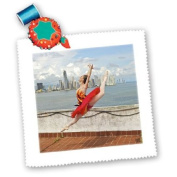 Kike Calvo Ballerina Dances and Leaps Next to The Pacific Ocean Square Quilt Sheet, 25cm by 25cm