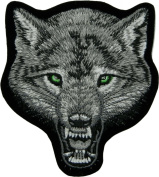 Big Face Wolf Grey Embroidered Iron on Patch 9x10 Cm