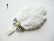 JY Jewellery white Children Girls Feather Flower Crystal Hair Band Elastic Headband