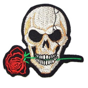 Skull rose tattoo horror goth punk Embroidery iron-on patch
