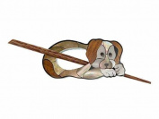 Buttons.etc Exotic Shawl Pins, 41002 - Inlaid Shell/Wood Brown Dog