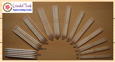 15cm Double Point Bamboo Knitting Needles 12 Assorted Sizes