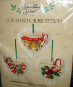 "Something Special ""Antique Heart Pocket"" Ornaments Set of Three Kit Counted Cross Stitch"