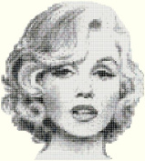 Marilyn Monore Black & White Counted Cross Stitch Pattern