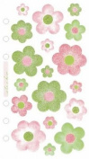 Stickopotamus Vellum Hearts, Swirls, and Flowers flowers green/pink