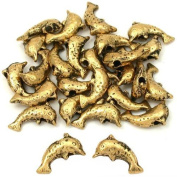 15g Dolphin Beads Antique Gold Plate 9.5mm Approx 25