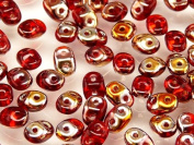 20gr Czech Two Hole Seed Beads SuperDuo 2,5x5 mm RUBY SLIPERIT