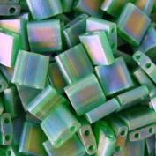 Miyuki 5mm Tila 2 Hole Square Beads TRANS GREEN Crystal Beads 7.2Gr No 146