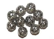 14mm Round Rosebud Antiqued Silvertone Metalized Metallic Beads