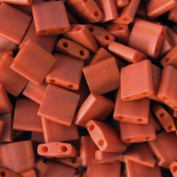 Burnt Sienna Orange Opaque Tila Beads 7.2 Gramme Tube By Miyuki Are a 2 Hole Flat Square Seed Bead 5x5mm 1.9mm Thick with .8mm Holes