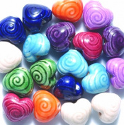 Peruvian 10mm Peruvian Hand Crafted Ceramic Heart Beads with Spiral Mix , 10 per Pack