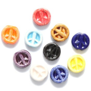 Shipwreck Peruvian Hand Crafted Ceramic Peace Sign Beads, 12mm, Assorted, 10 Per Pack