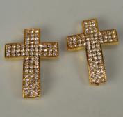 Rhinestone Triple Wide Cross Pave Gold W/crystal 2 Each