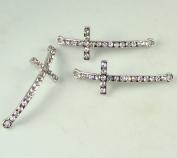 Rhinestone Slim Cross Silver with Crystal 3 Each 4.4cm Curved Bracelet Bar