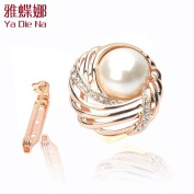 Scarf Ring-Lady Pin Brooch Clip On Style. Crystal Metallic w/Rhinestone .  Crystal,Gorgeous Lady Clip On Ornament,3.2cm W x 3.2cm ,The Most Elegant Clip On Pin w/ .  d !