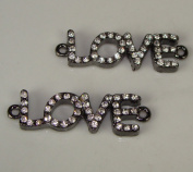 Rhinestone Love Bracelet Bar Pave Gunmetal W/crystal 2pcs 3.8cm