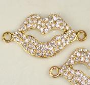 Rhinestone Lips Bracelet Bar Pave Gold W/crystal 2 Pcs 38x20mm