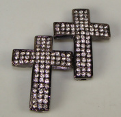 Rhinestone Triple Wide Cross Gunmetal W/crystal 2 Each 3.8cm