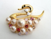 Gold Pin Brooch,Ornament-Gorgeous Swan Design Gold Metallic w/Rhinestone,Imitation Pearl Elegant Design 4.4cm W x 3.3cm H Super Saving w/ .  d !