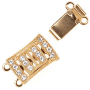 23K Gold Plated 2-Strand Box Clasp Rectangle With 14. ELEMENTS 18x10mm